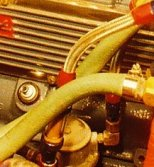 PCV installed in place of road draft tube for 1960-1962 Chevy 235 cubic inch six cylinder engine in an Apache pick-up truck.