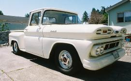 1961 Chevy Apache pickup truck passenger side view.