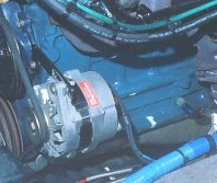 A C DELCO brand CS 130 alternator installed on the 1961 Chevy Apache 235 c.i. six cylinder engine.