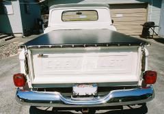 Tonneau cover installed on 1961 Chevy Apache shortbed stepside pickup truck.Semi-annual cosmetic detail August 2009. Click photo for enlargement.