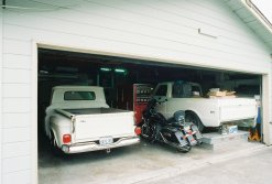 The 1961 Chevy Apache pickup truck in the garage for some updating : circa July 2009.