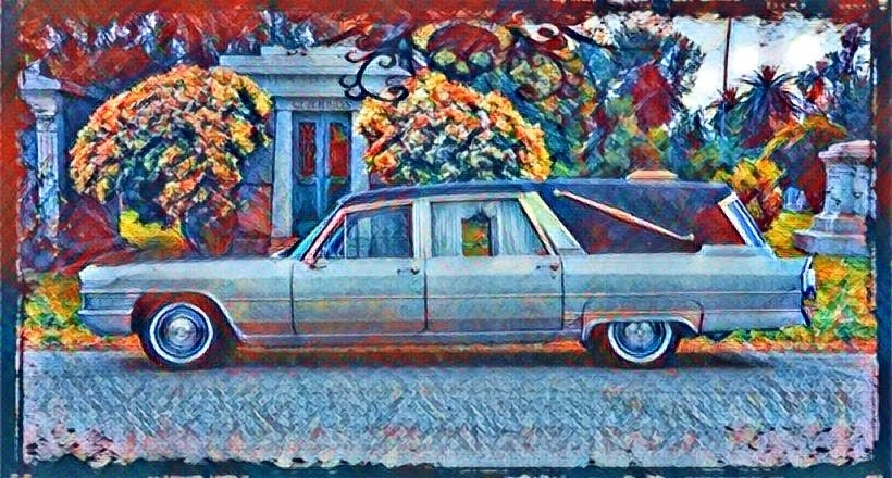 1965 Cadillac Landau Royale series hearse image manipulation done with Deep Art Effect software and a fuckin' heap 'n a holler of talent.