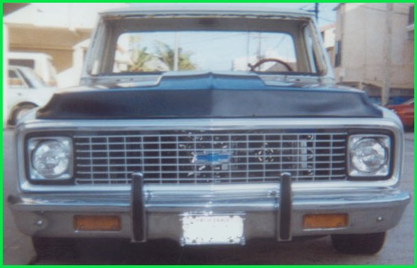 Front view of the new cowl induction hood installed on the 1971 Chevrolet C-10 pickup truck.