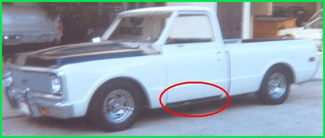 Driver side view of the new rocker cowls, tailgate and cowl induction hood were installed prior to the 1971 Chevrolet C-10 pickup truck.