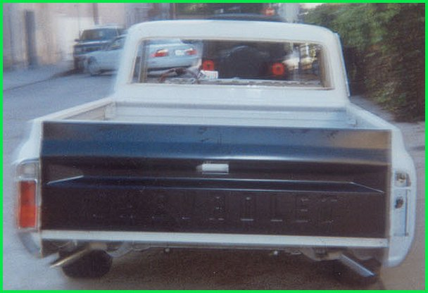 Rear view of new tailgate installed on the 1971 Chevrolet C-10 pickup truck.