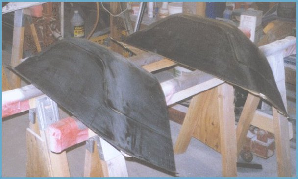 Shown here a new reproduction wheel wells for the bed of the 1971 Chevy C-10 undergoing prep for primer and paint.