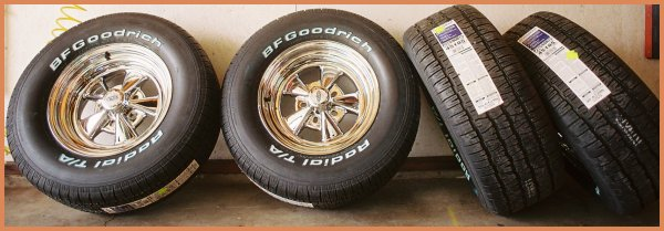 MARCH 2011 : B F Goodrich Radial T/A's mounted on 15 X 8 Cragar SS wheels for installation on the 1971 Chevy C-10 pickup.