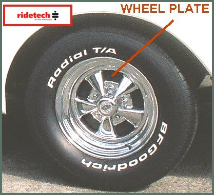Black powder coated RideTech wheel plates installed behind the Cragar wheels of the 1971 Chevy C-10.