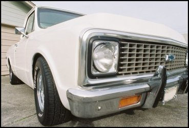 CLICK PHOTO TO ENLARGE.  1971 Chevy C-10 Pickup Front to Rear Passenger Side View.