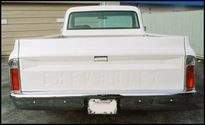 CLICK PHOTO TO ENLARGE.  1971 Chevy C-10 Pickup Tailgate and Rear Bumper View.