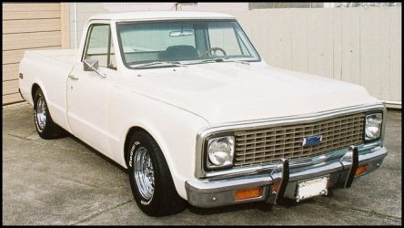 CLICK PHOTO TO ENLARGE.  1971 Chevy C-10 Pickup Overall View Front Passenger Side.