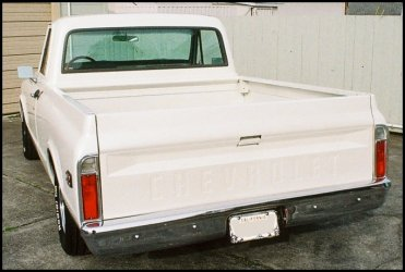 CLICK PHOTO TO ENLARGE.  1971 Chevy C-10 Pickup Driver Side Tailgate Bed View.