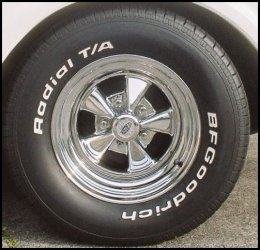CLICK PHOTO TO ENLARGE.  1971 Chevy C-10 Pickup Rear Inner RideTech Black Powder Coated Front Wheel Plate View.