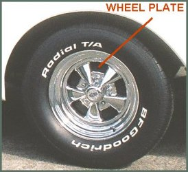 CLICK PHOTO TO ENLARGE. 1971 Chevy C-10 Pickup Front Inner RideTech Black Powder Coated Front Wheel Plate View.